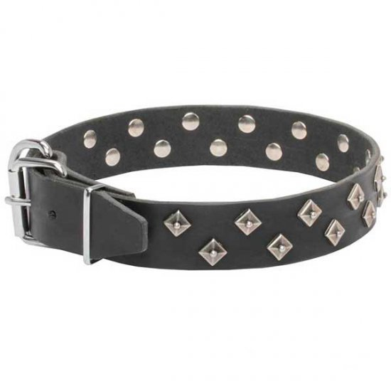 """Galaxy Pyramids"" Leather Dog Collar"