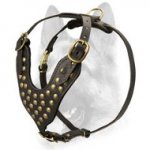 Fashion Studded Leather Schutzhund All-Breed Dog Harness