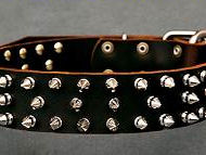 Leather Spiked Dog Collar-3 Rows of spikes collar for all breeds