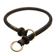 """Best Trainer"" Exquisite Round Leather Silent Dog Choke Collar"