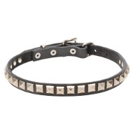 'King Studs' Leather Dog Collar with Chrome Plated Adornments