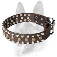 Reliable Dog Leather Collar with 3 Rows of Decorations