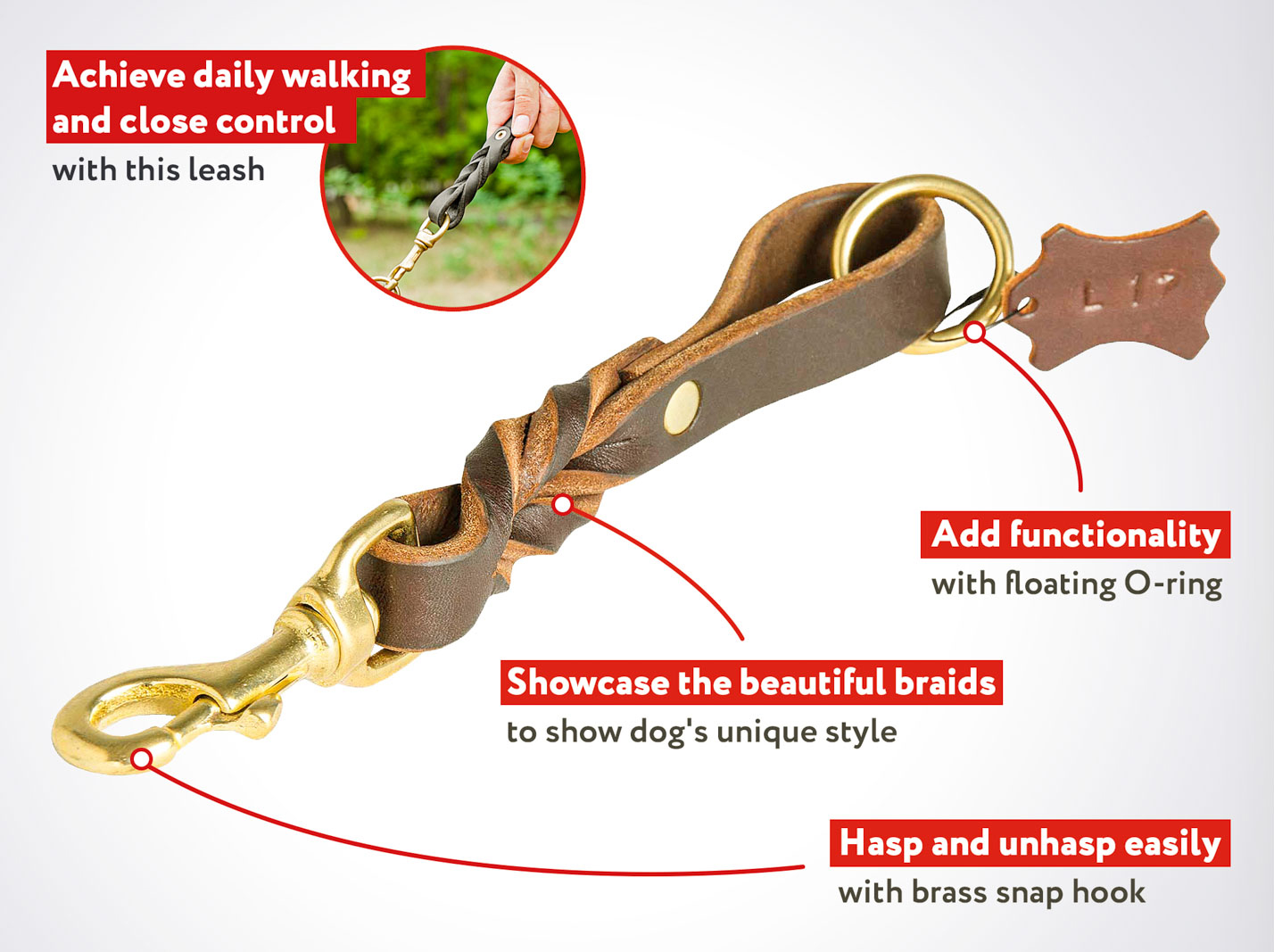 Short Leather Pull Tab Dog Leash