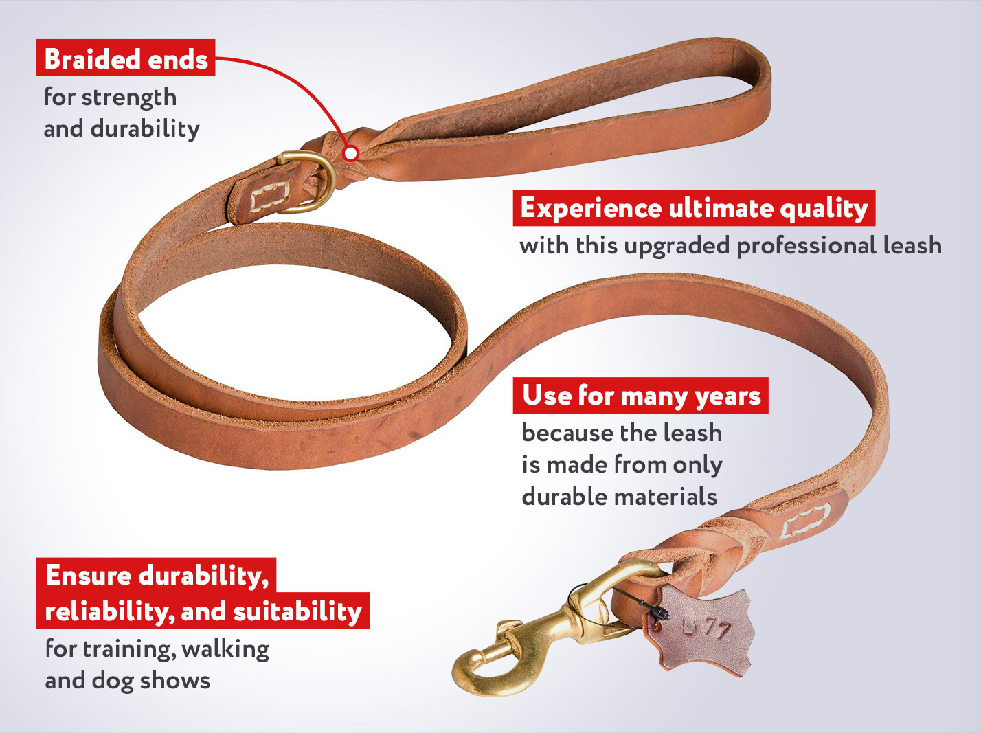 Marvellous Braided Leather Dog Leash