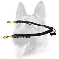 Braided Leather Coupler Dog Leash for Walking 2 Dogs