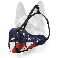 """American Pride"" Leather Full-Snout Dog Muzzle for Attack/Agitation Training"