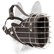Wire Cage Dog Muzzle with Leather Padding for Agitation Training