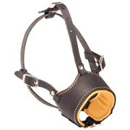 Obedience Training Leather Dog Muzzle with Opened Nose