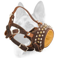 Best Padded Handmade Royal Spiked Leather Dog Muzzle