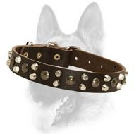 Custom 3 Rows Leather Dog Collar With Studs & Pyramids