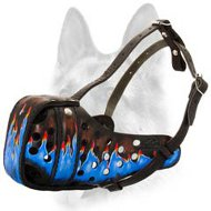 Beautiful Blue Flames Painted Leather Dog Muzzle for Schutzhund Dog Breeds