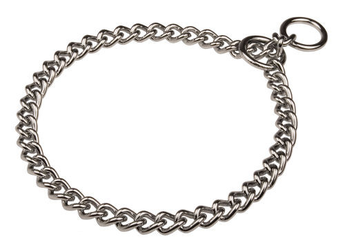 Chrome plated steel choke chain for pet education