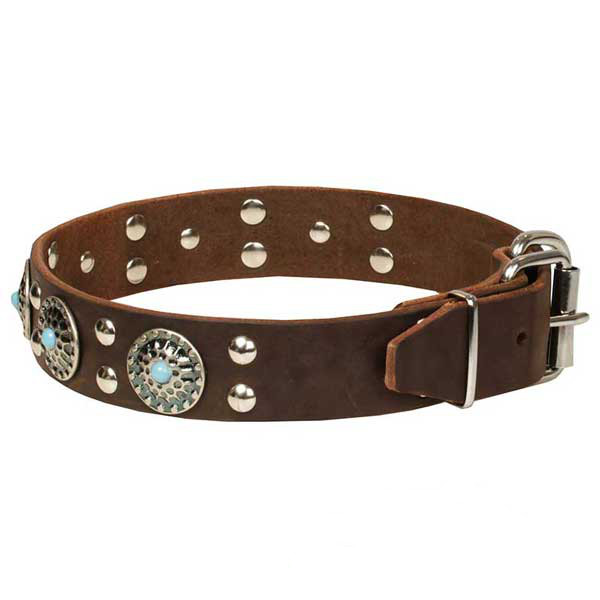 Genuine leather brown dog collar
