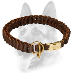 Leather dog collar flexible due to the braided leather structure