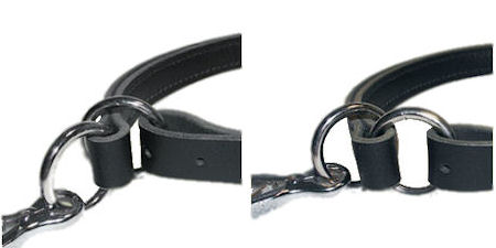 Adjustable Leather Slip Collar with nickel plated hardware for training dogs