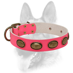 Pink leather dog collar for making your female very beautiful during the training