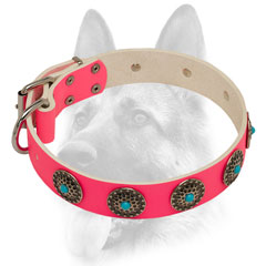 Decorated pink leather dog collar for Schutzhund training