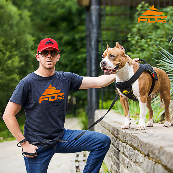 Men T-shirt of Fine Quality Cotton with Orange Logo for Dog Trainers