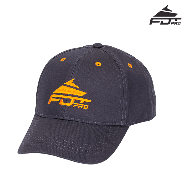 One-size Dark Grey Color Cap with Bright Orange Logo for Dog Training
