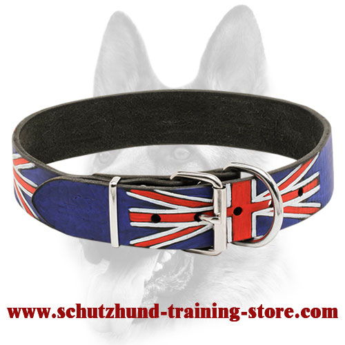 """Union Jack"" Handpainted Leather Dog Collar"