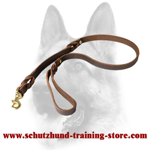Quality Double Handle Leather Dog Leash