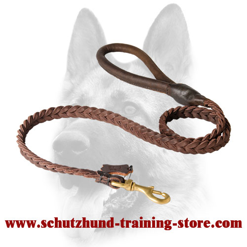 Remarkable Braided Leather Dog Lead with Round Handle