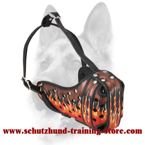 Fire Flames Painted Leather Dog Muzzle for Attack/Agitation Training