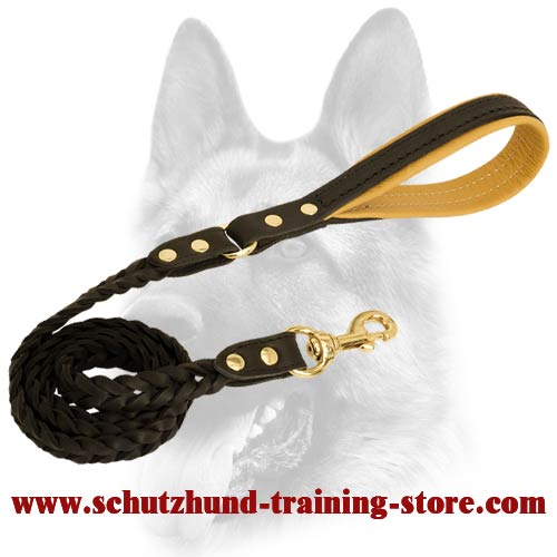 Braided Schutzhund Leather Dog Leash