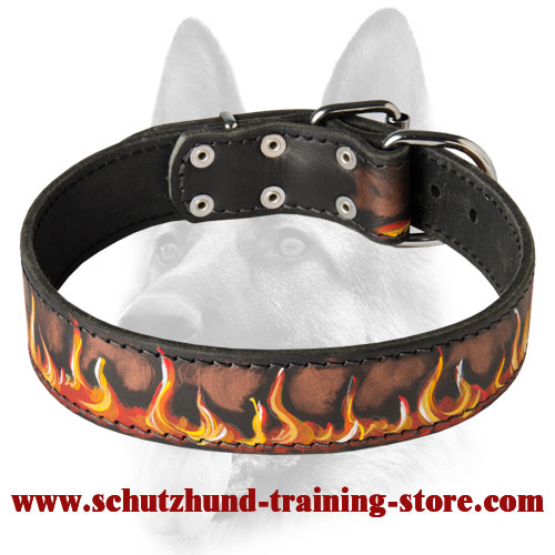 Fashion Dog Collar with Handpainted Fire Flames