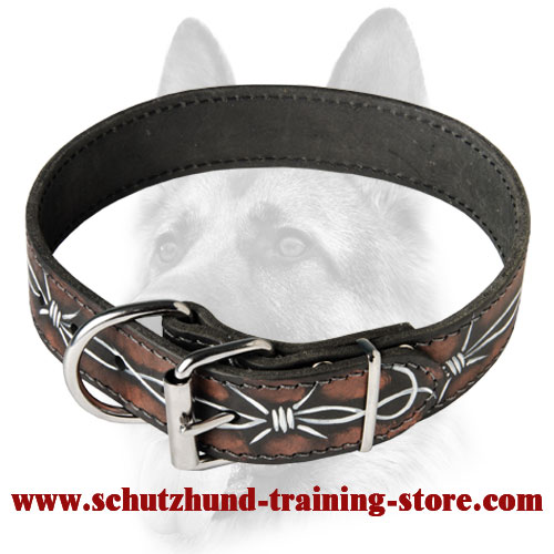 Barbed Wire Painted Leather Collar for Working Dog Breeds