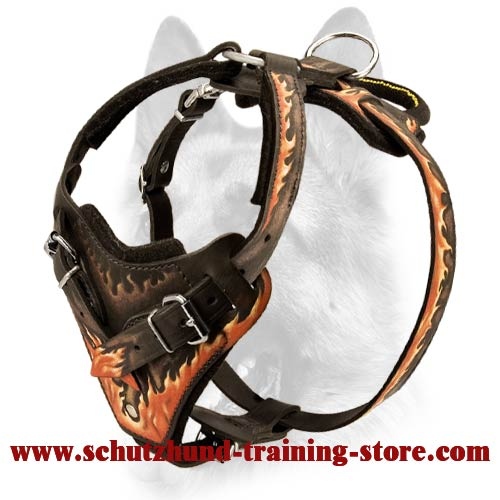 Handicraft Leather Dog Harness-Fire Flames Painted Schutzhund Harness