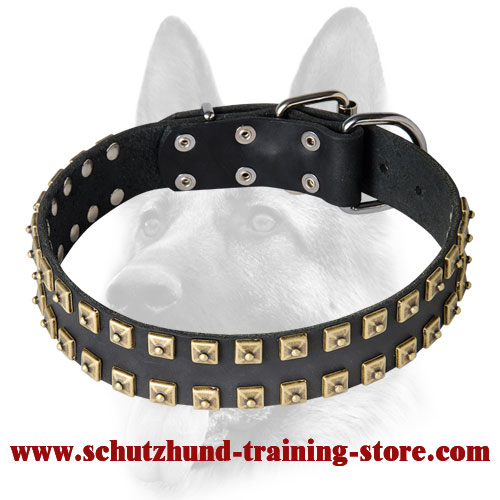 Extra Strong Leather Dog Collar with Fashion Exterior for Schutzhund Training