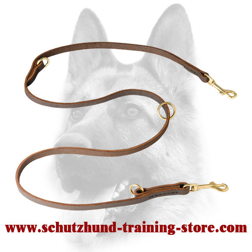 Schutzhund Convertible Leather Dog Leash for Training, Walking, Tracking - Click Image to Close