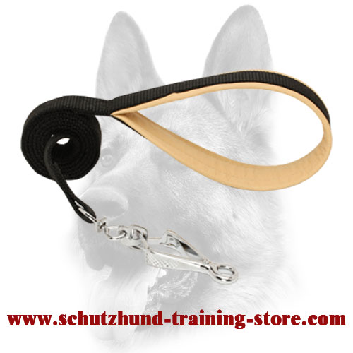 Advanced Nylon Dog Leash with Nappa Leather Padded Handle for Schutzhund Training