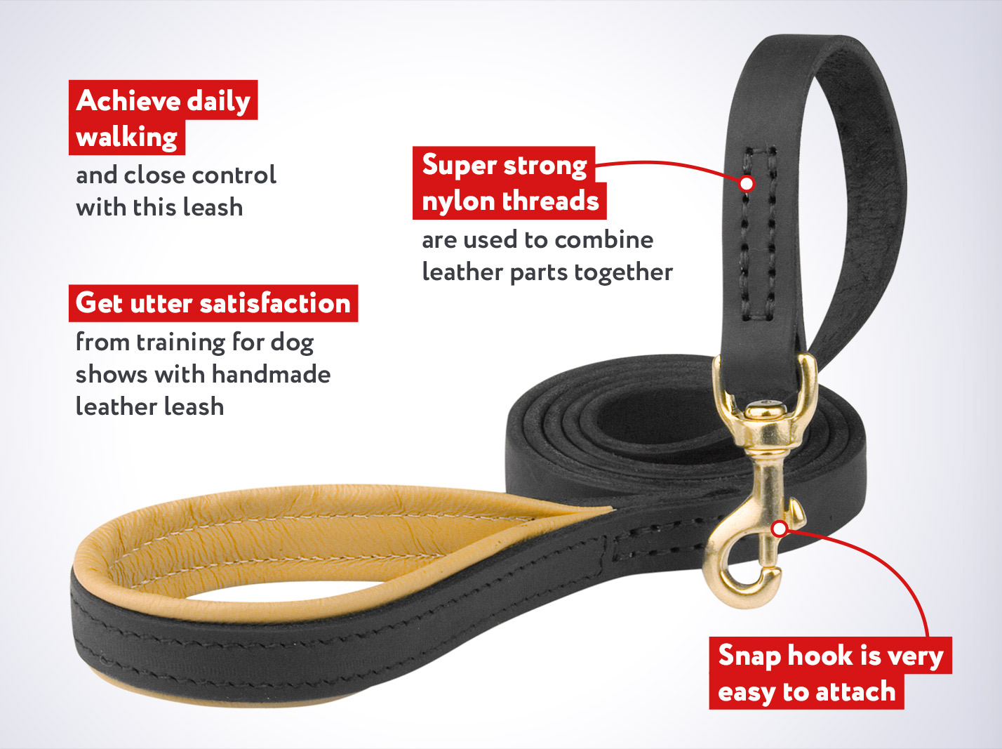 Schutzhund Leather Dog Leash with Comfortable Padded Handle