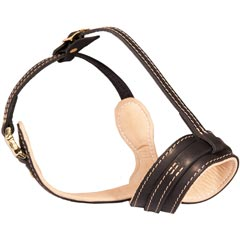 Superior ventilation dog muzzle made of leather