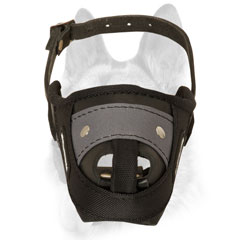 Dog muzzle made of nylon and leather offers extreme durability