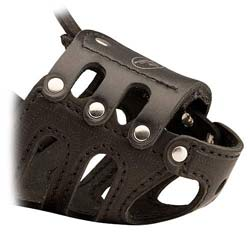 Lightweight well-fitting dog muzzle made of top-grade  leather