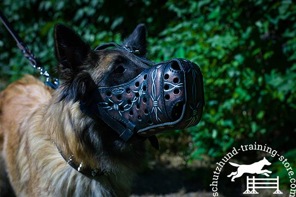 Tervuren leather muzzle with rust-free fittings for quality control