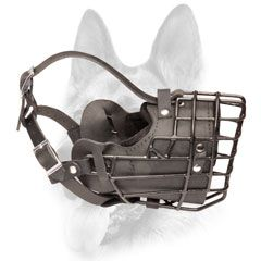 Schutzhund dog muzzle metal rubber covered basket for winter