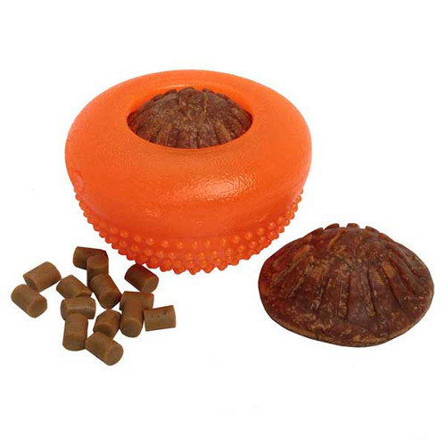 Reliable dog chewing rubber toy with treats