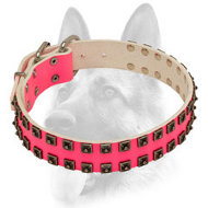 Orignal Design Pink Leather Dog Collar for Schutzhund Trained Canines